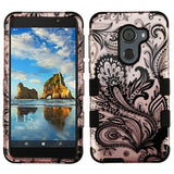 For Alcatel Walters A30 Plus Phoenix Flower 2D Rose Gold/Black TUFF Hybrid Case