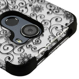 For Alcatel Walters A30 Plus Black Four-Leaf Clover 2D Silver TUFF Hybrid Cover