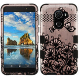 For Alcatel Walters A30 Plus Black Lace Flowers 2D Rose Gold TUFF Hybrid Cover