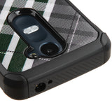 For Risio C40 Leon H320 Forest Green/Gray Diagonal Plaid/Black Astronoot Case