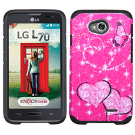 Glittering Butterfly/Heart Hot Pink/Black