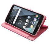 For LG Stylo 3/Plus Hot Pink/Pink Leather MyJacket Flip Wallet Case w/card slots