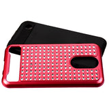 For LG Harmony/K10/V5/K20 Red/Black Diamante FullStar Rhinestone Protector Cover