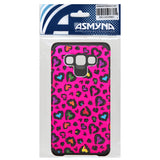 For A700 Galaxy A7 Glittering Leopard Skin Hot Pink/Black Armor Case Cover