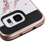 For Samsung Galaxy S7 Edge Spring Flowers/Black Brushed Hybrid Protector Cover