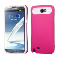 For Galaxy Note 2 Rubberized Hot Pink/White Card Wallet Back Protector Cover