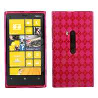 For 920 Lumia Hot Pink Argyle Silicone Candy Skin Protector Cover Case