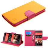 For Desire 626 Yellow Pattern/Hot Pink Liner MyJacket wallet (with card slot)