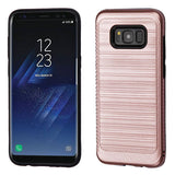 For Samsung Galaxy S8 Plus Brushed Hybrid Protector Cover w/Carbon Fiber Accent