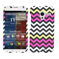Chevron Zig Zag Pink/Navy Hard Slim Protector Cover Case Google Motorola X Phone
