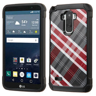 For LG G Stylo Diagonal Plaid Astronoot Impact Armor Phone Protector Case Cover