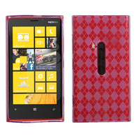 For 920 Lumia Purple Argyle Silicone Candy Skin Protector Cover Case