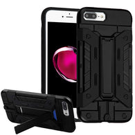 For iPhone 7 / 8 Plus Black/Black Advanced Armor Stand Protector Cover w/ Wallet