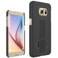 For Galaxy S7 Woven Holster Clip +Hard Shell with Stand Cover Protector Case
