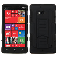 For 929 Lumia Icon Black/Black Car Armor Stand Protector Cover (Rubberized)