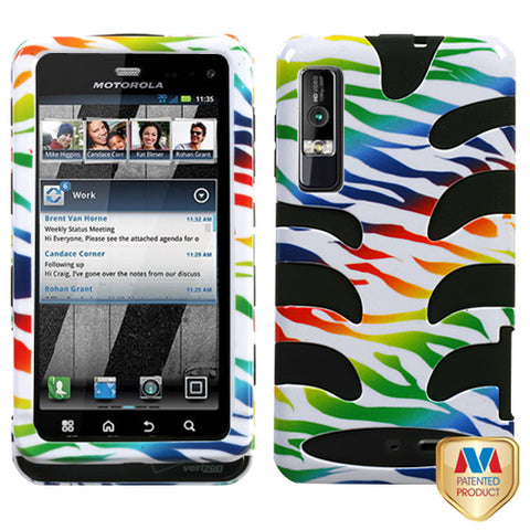 For XT862 Droid 3 Colorful Zebra /Black Fishbone Phone Protector Cover