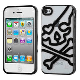 For iPhone 4s/4 Transparent Clear/Solid Black (Skullcap) Gummy Cover