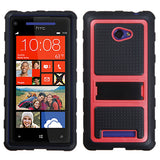 For Windows Phone 8X Hot Pink Gummy Armor  +Stand Protector Cover Case