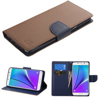 For Galaxy Note 5 Brown Pattern/Dark Blue Liner MyJacket wallet (with card slot)