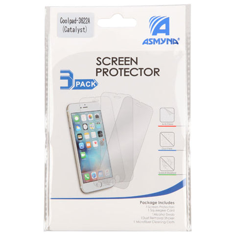 For Coolpad Catalyst 3622A Clear Anti-Glare LCD Screen Protector Shield 3  Pack
