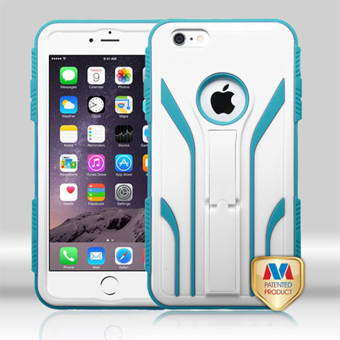 For iPhone 6S Plus/6+ Cream White/Tropical Teal TUFF Extreme Hybrid Case Cover