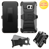 For Galaxy S6 edge Plus Black/Gray Advanced Armor Stand Case Cover (+Holster)