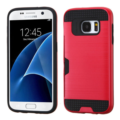For Samsung Galaxy S7 Brushed Hybrid Impact Protector Case Cover w/Card Wallet