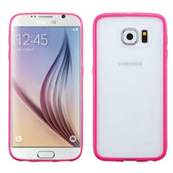 For G920 Galaxy S6 Glassy Transparent Clear/Solid Hot Pink Gummy Cover