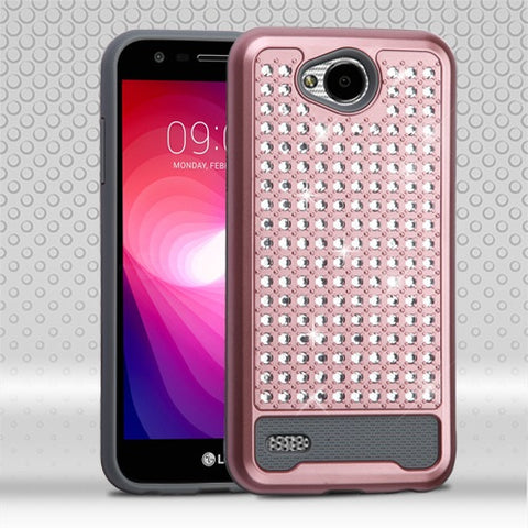 For LG Fiesta/X Power 2 Diamante FullStar Rhinestone Bling Protector Case cover