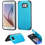 For Galaxy S6 Tropical Teal Inverse Advanced Armor Stand Case Cover +Card Wallet