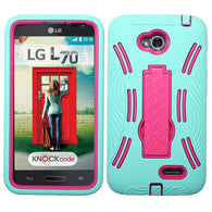 For Optimus Exceed 2 MS323 L70 Hot Pink/Sky Blue Symbiosis Stand Case Cover