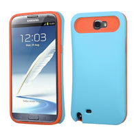 For Galaxy Note 2 Rubberized Baby Blue/Orange Card Wallet Back Protector Cover