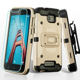 For Coolpad Defiant 3632 Gold/Black 3-in-1 Kinetic Hybrid Protector Cover Combo