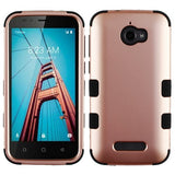 For Coolpad Defiant 3632 Rose Gold/Black TUFF Hybrid Phone Protector Case Cover