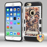 For iPhone 6s/6 Fallen Pinecones/Black TUFF Trooper Hybrid Case Cover (+Stand)