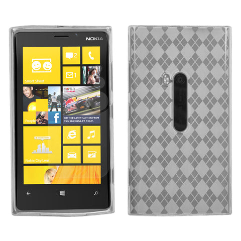 For 920 Lumia T-Clear Argyle Silicone Candy Skin Protector Cover Case