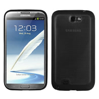 For Galaxy Note 2 Horizontal Stripes Transparent Smoke/Solid BlackGummy Cover