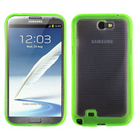 For Galaxy Note 2 Horizontal Stripes Transparent Clear/Solid Green Gummy Cover
