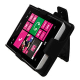 For Lumia 521 Rubberized Black Hybrid Holster +Belt Clip