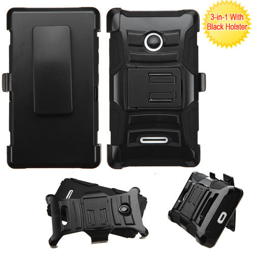 For Lumia 435 Black Advanced Armor Stand Protector Cover (With Black Holster)