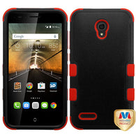 For 7046T One Touch Conquest Natural Black/Red TUFF Hybrid Phone Protector Cover