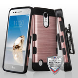 For LG K4/Fortune/K8/Phoenix 3 Brushed TUFF Trooper Hybrid Holster Case Cover