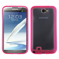 For Galaxy Note 2 Horizontal Stripes Clear/Solid Hot Pink Gummy Cover
