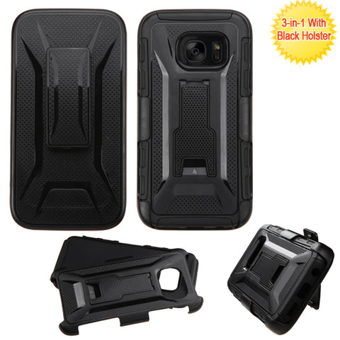 For Samsung Galaxy S7 Advanced Impact Armor Stand Protector Case Cover w/Holster