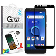 For Alcatel 1X Evolve Full Coverage Tempered Glass Screen Protector Clear/Black