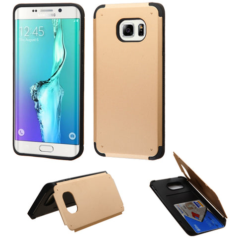 For Galaxy S6 edge Plus Gold Inverse Armor Stand Case Cover +Card Wallet