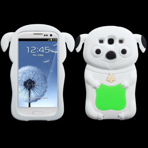 For Galaxy S3 Electric Green/White Cheeky Dog Pastel Skin Cover