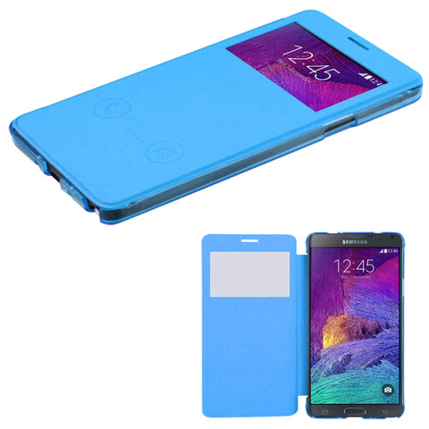 For Galaxy Note 4 Sky Blue Silk Texture MyJacket (with Transparent Frosted Tray)