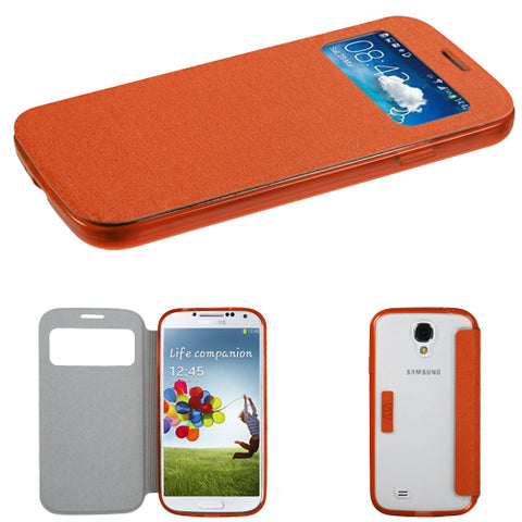 For Galaxy S4 Orange MyJacket (with Orange/T-Clear Gummy Cover Tray)