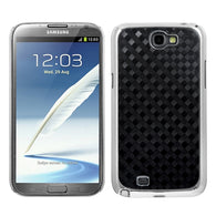 For Galaxy Note 2 Diagonal Plaid Silver Plating Plaid Alloy Executive Back Case